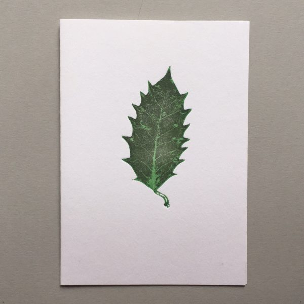 Leaf Letterpress card Royal botanic garden edinburgh holly