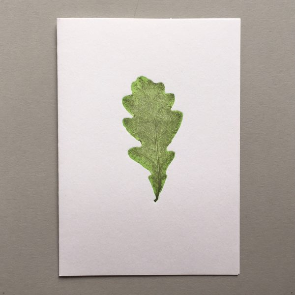 Leaf Letterpress card Royal botanic garden edinburgh oak